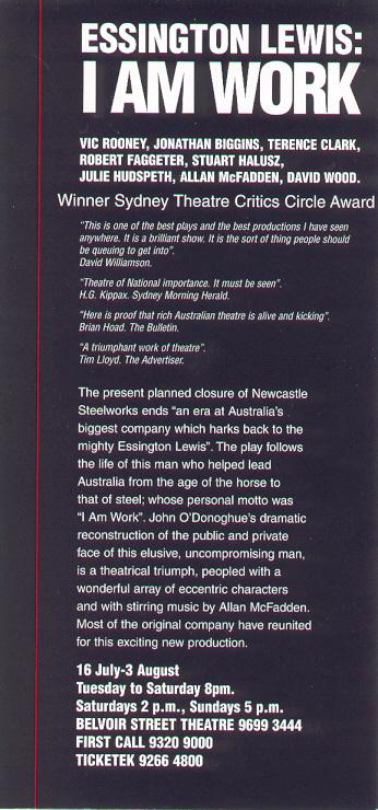 Essington Belvoir 1997 Flyer back